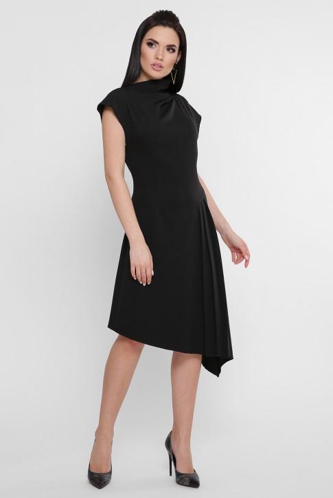Черное асимметричное платье присборенное сбоку. PL-1758B (фото 2)
