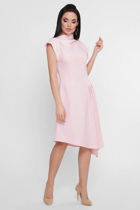 Светло-розовое асимметричное платье с плиссировкой. PL-1758C