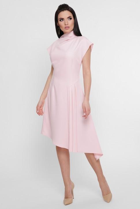Светло-розовое асимметричное платье с плиссировкой. PL-1758C (фото 2)