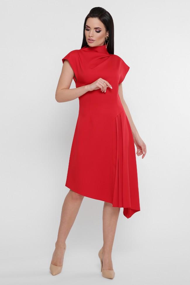 Красное асимметричное платье с неровным подолом. PL-1758A
