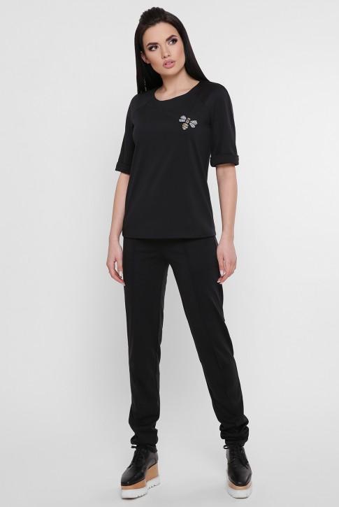 Черный женский костюм со стразами. KS-1754A
