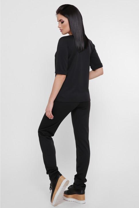 Черный женский костюм со стразами. KS-1754A (фото 2)