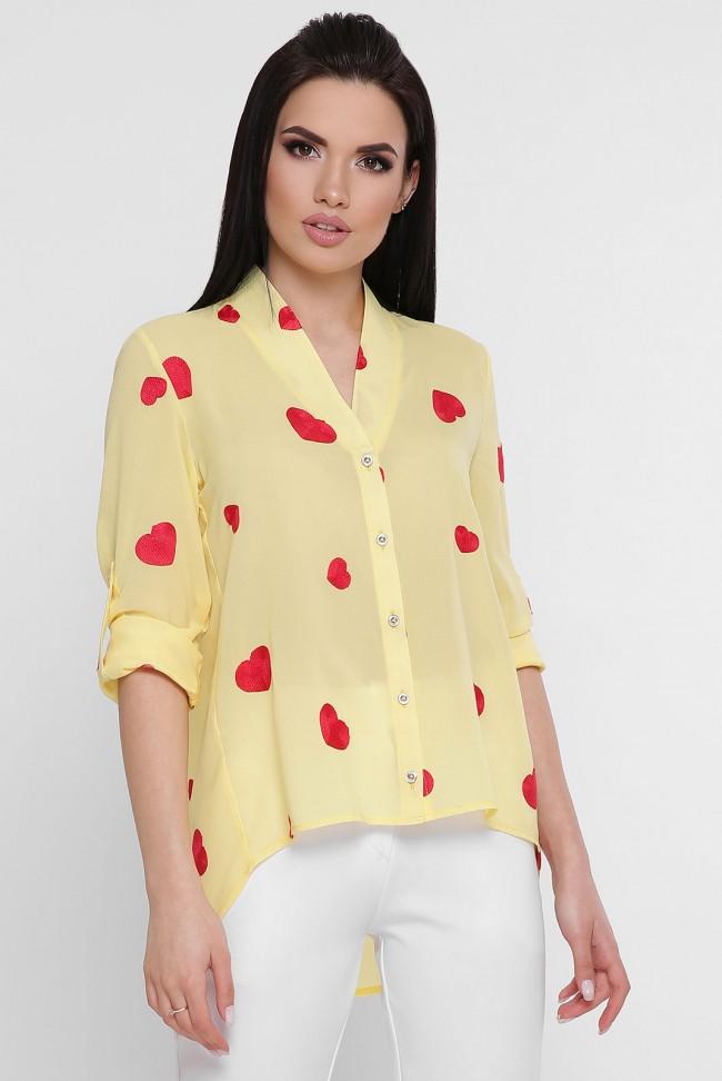 Желтая асимметричная блузка с вышивкой. BZ-1755A