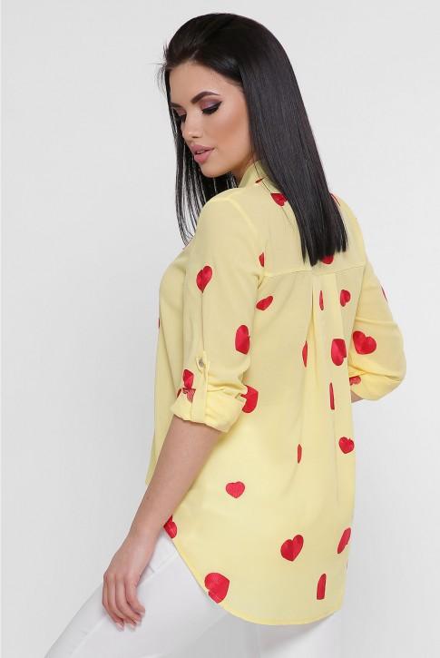 Желтая асимметричная блузка с вышивкой. BZ-1755A (фото 2)