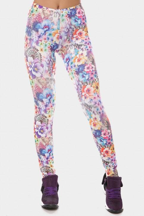 Эластичные женские лосины с цветочным рисунком. LSN-189H