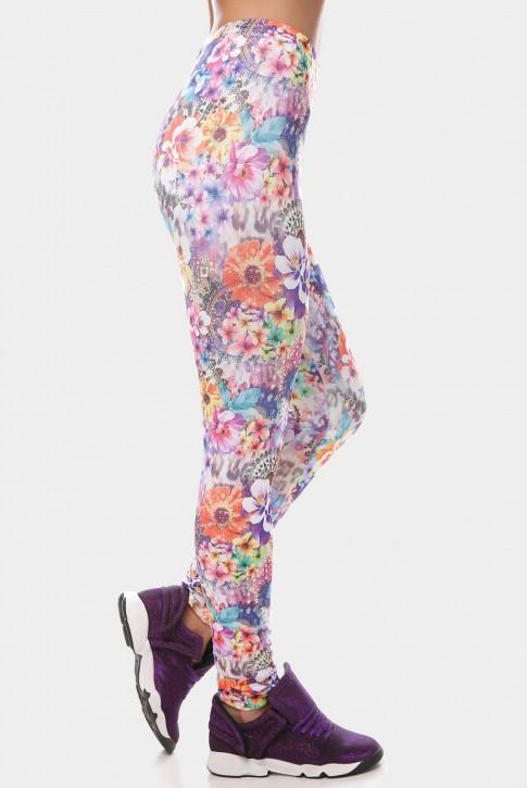 Эластичные женские лосины с цветочным рисунком. LSN-189H (фото 2)