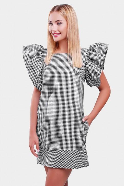 Платье в клетку с рукавом воланом PL-1347A
