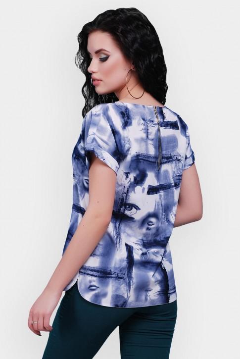"""Синяя женская футболка со змейкой на спине  - """"Soft"""" FB-1478A (фото 2)"""