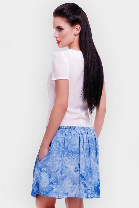 Короткое летнее платье с белым верхом и голубым низом. PL-1499B (фото 2)