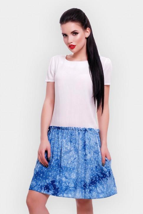Короткое летнее платье с белым верхом и синим низом. PL-1499A (фото 2)