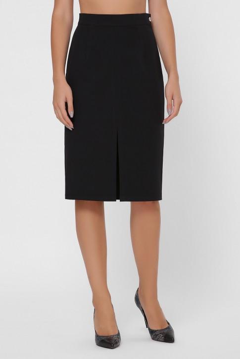 Черная прямая юбка с разрезом YUB-1002