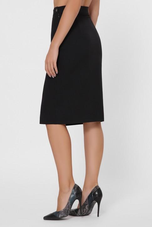 Черная прямая юбка с разрезом YUB-1002 (фото 2)