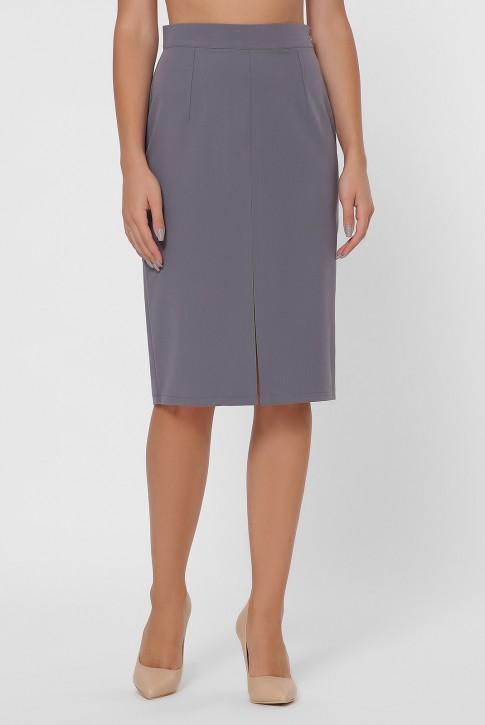 Серая прямая юбка с разрезом YUB-1002B (фото 2)