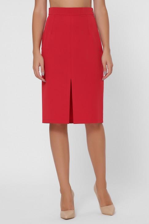 Красная прямая юбка с разрезом YUB-1002C