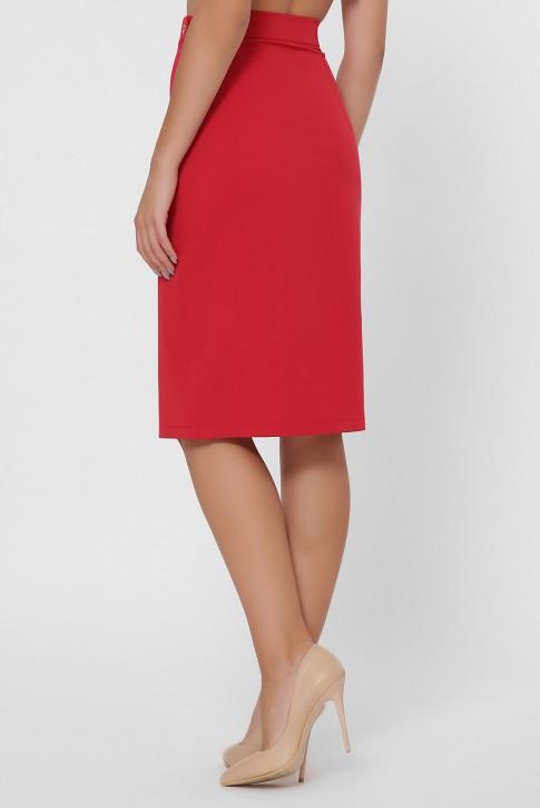 Красная прямая юбка с разрезом YUB-1002C (фото 2)