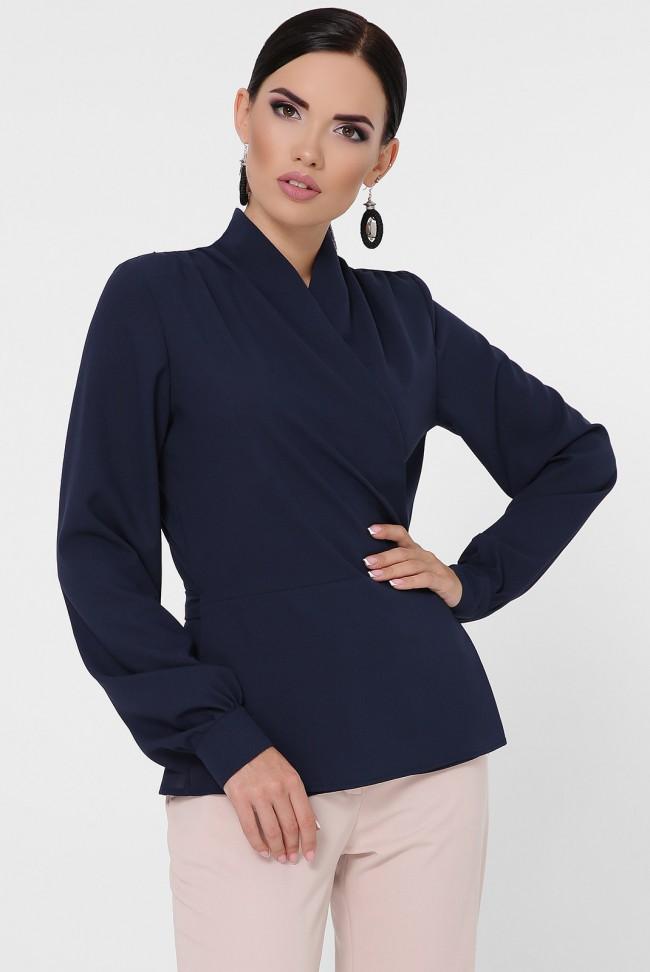 Блузка на запах темно-синяя BZ-1783A
