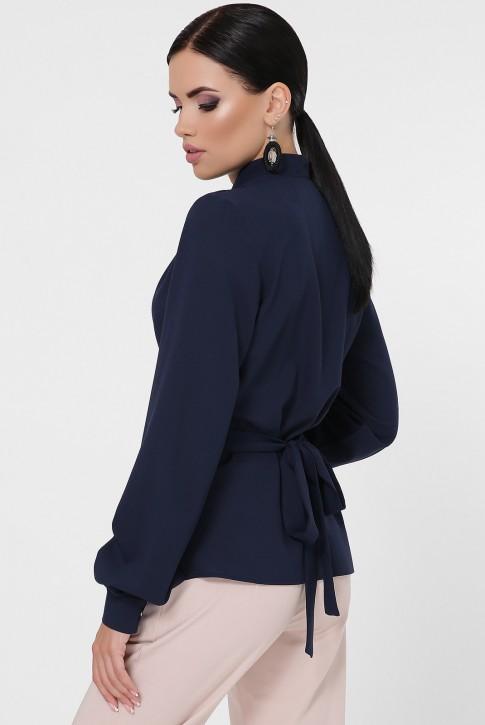 Блузка на запах темно-синяя BZ-1783A (фото 2)